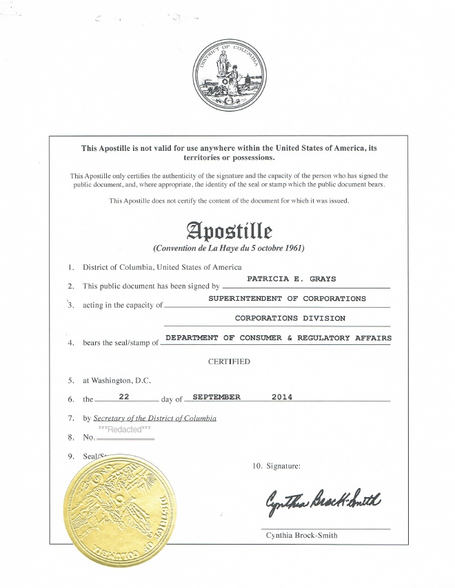 District Of Columbia Apostille Authentication Harbor Compliance