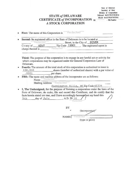 Delaware articles of incorporation copy example