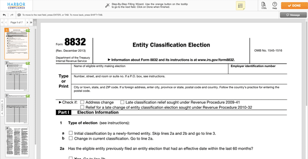 How To File Irs Form 8832 C Corp Election Harbor Compliance