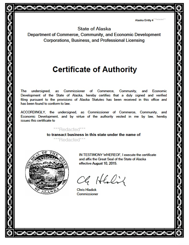 Alaska certificate of authority