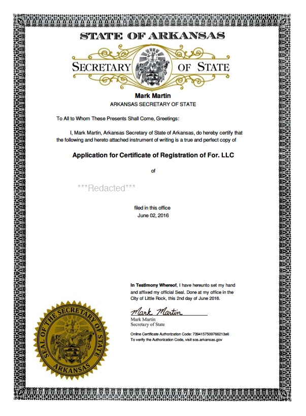 Arkansas Certificate of Authority