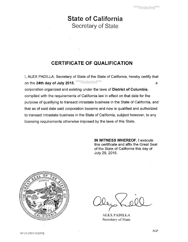 California certificate of authority
