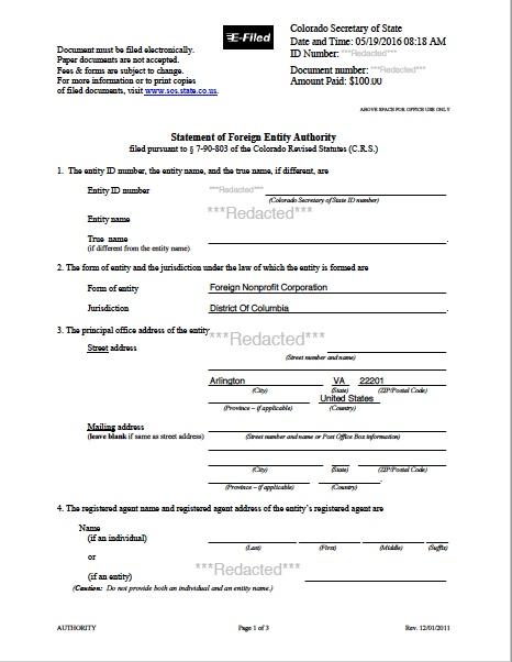 Colorado certificate of authority