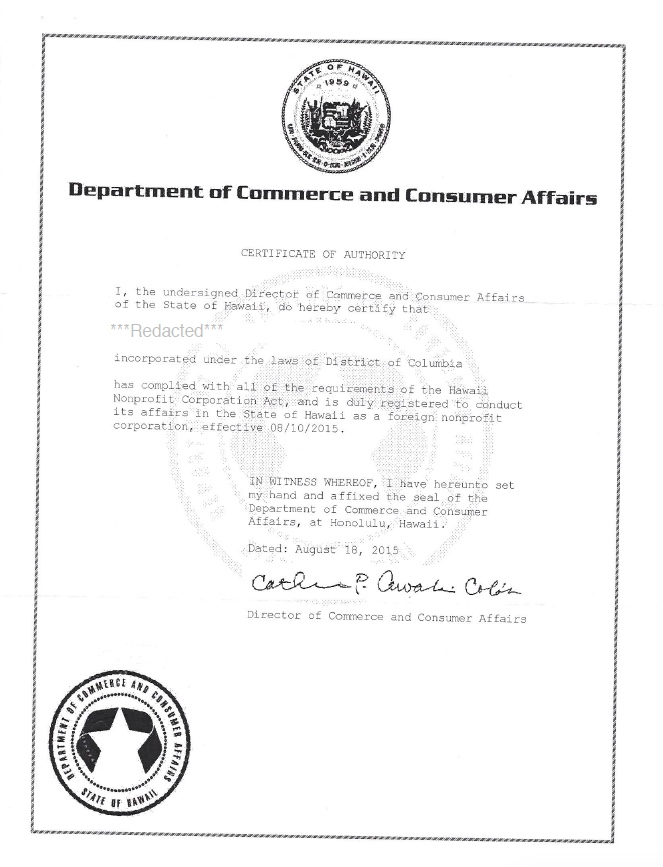 Hawaii certificate of authority