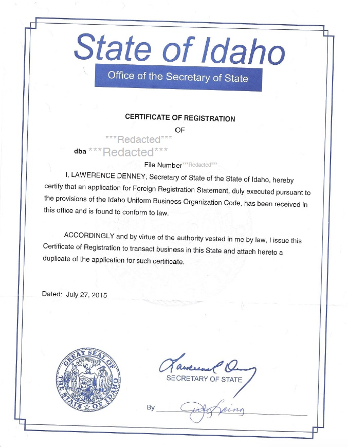 Idaho Certificate Of Authority Harbor Compliance