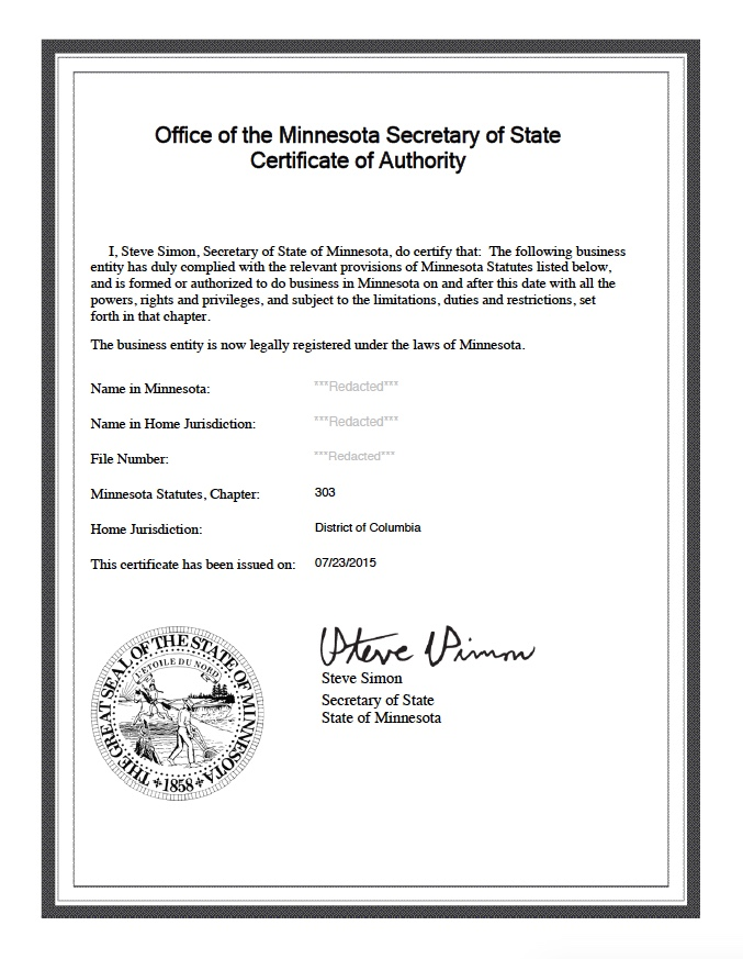 Minnesota Certificate of Authority | Harbor Compliance