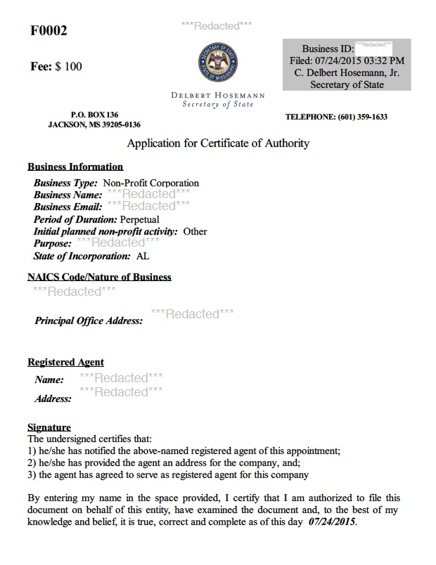 Get Your Mississippi Certificate Of Authority  Certificate Of Authority Sample