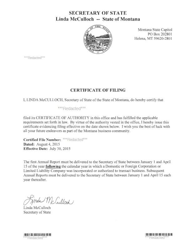 Montana certificate of authority