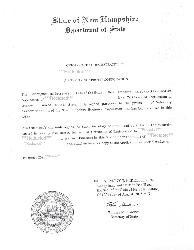 New Hampshire certificate of authority