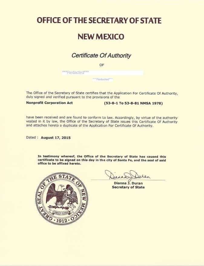 New Mexico certificate of authority