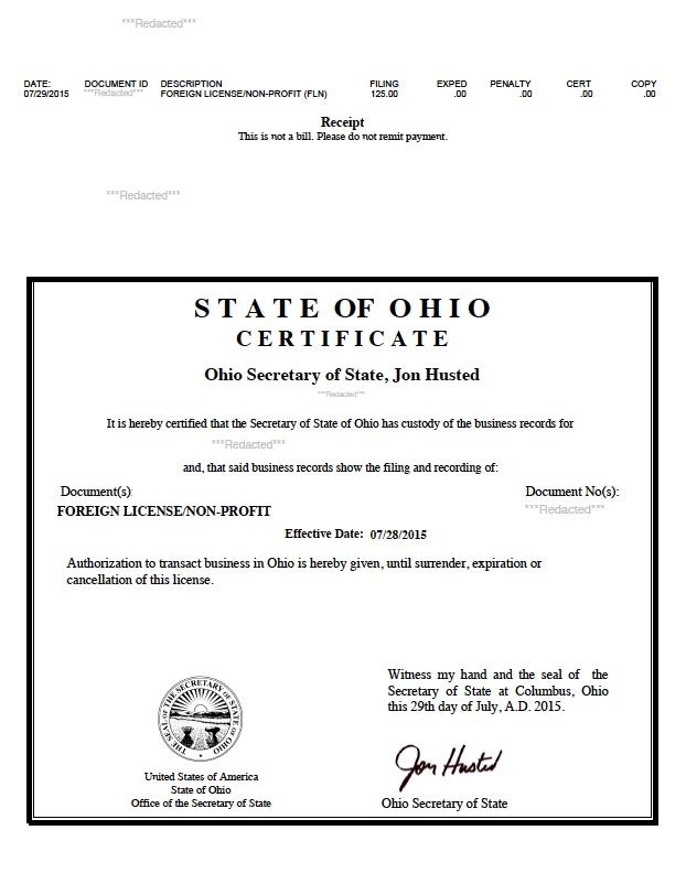 Ohio certificate of authority