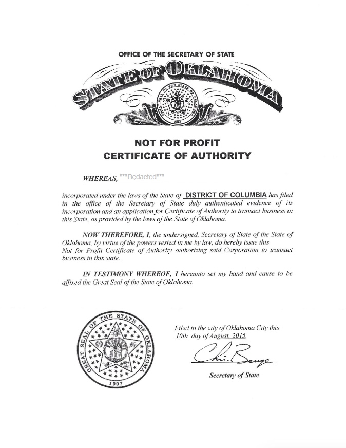Oklahoma certificate of authority