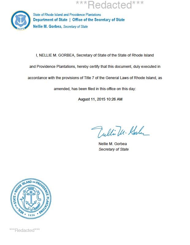 Rhode Island certificate of authority