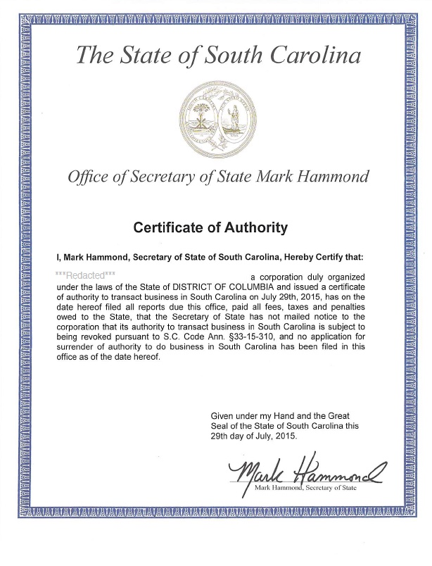 South Carolina certificate of authority