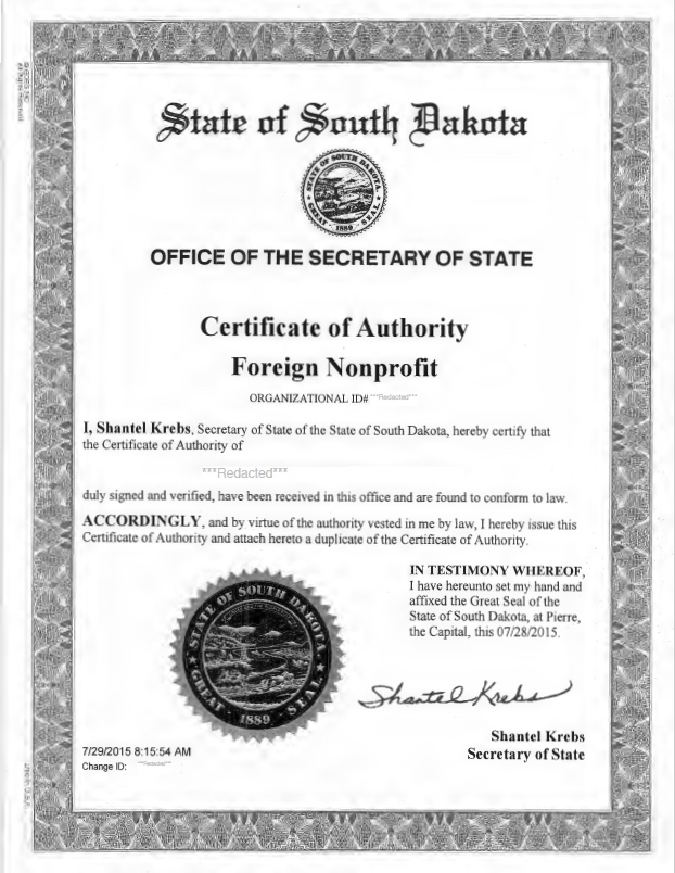 South Dakota certificate of authority