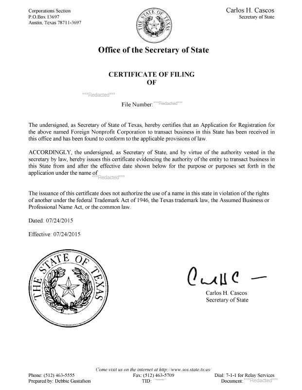 Texas certificate of authority