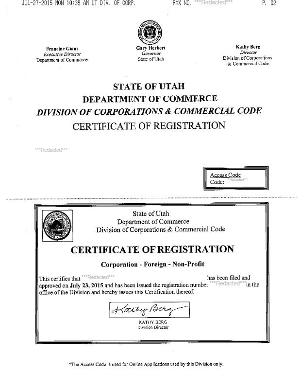 Utah certificate of authority
