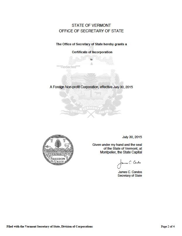 Vermont certificate of authority