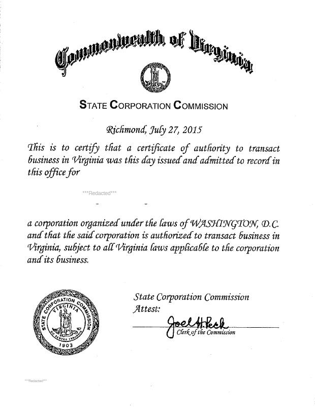 Virginia Certificate Of Authority Harbor Compliance