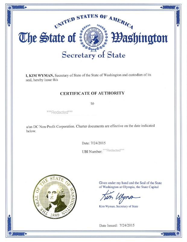 Washington certificate of authority