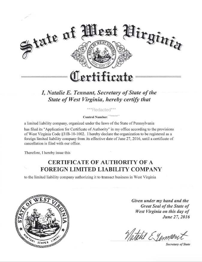 West Virginia certificate of authority