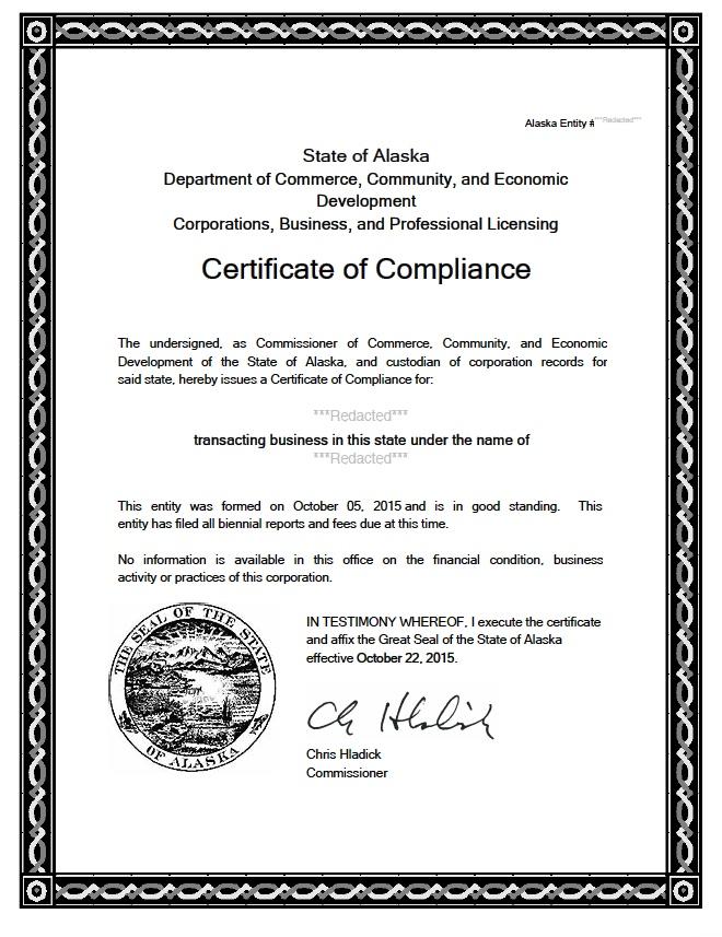 Alaska certificate of good standing, Alaska certificate of existence, Alaska certificate of status, Alaska