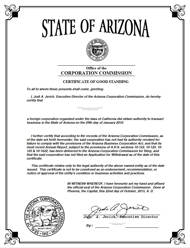 Arizona certificate of good standing, Arizona certificate of existence, Arizona certificate of status, Arizona