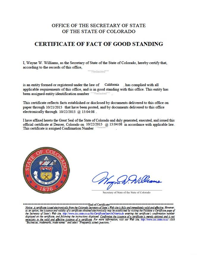 Colorado certificate of good standing, Colorado certificate of existence, Colorado certificate of status, Colorado