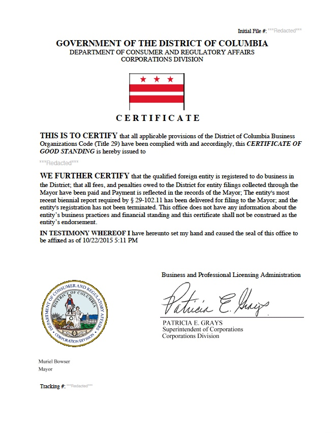 Washington D.C. certificate of good standing, Washington D.C. certificate of existence, Washington D.C. certificate of status, Washington D.C.