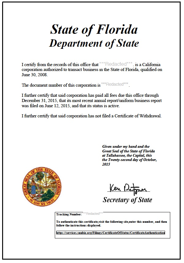 Florida Certificate Of Good Standing Certificate Of Status
