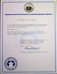 Hawaii certificate of good standing, Hawaii certificate of existence, Hawaii certificate of status, Hawaii