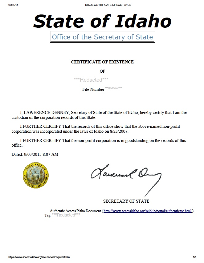 Idaho certificate of good standing, Idaho certificate of existence, Idaho certificate of status, Idaho