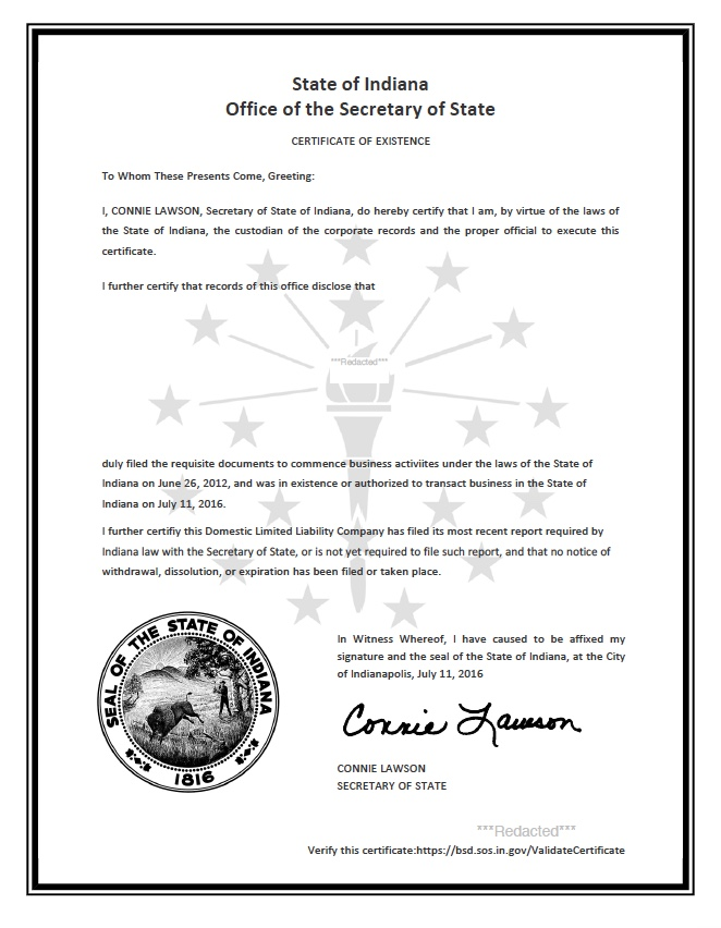 Indiana certificate of good standing, Indiana certificate of existence, Indiana certificate of status, Indiana