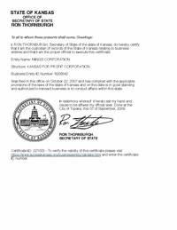 Kansas certificate of good standing, Kansas certificate of existence, Kansas certificate of status, Kansas