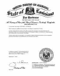 Louisiana certificate of good standing, Louisiana certificate of existence, Louisiana certificate of status, Louisiana