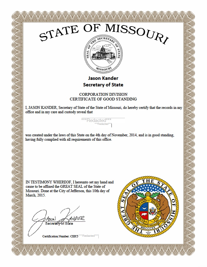 Missouri Certificate Of Good Standing Harbor Compliance