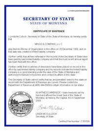 Montana certificate of good standing, Montana certificate of existence, Montana certificate of status, Montana