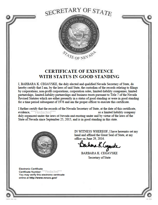 Nevada certificate of good standing, Nevada certificate of existence, Nevada certificate of status, Nevada