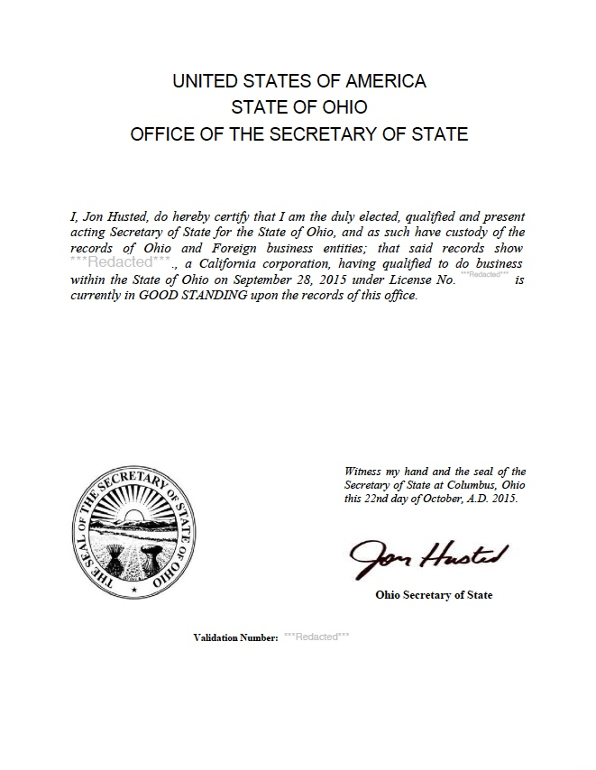 Ohio certificate of good standing, Ohio certificate of existence, Ohio certificate of status, Ohio