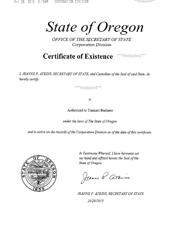 Oregon certificate of good standing, Oregon certificate of existence, Oregon certificate of status, Oregon