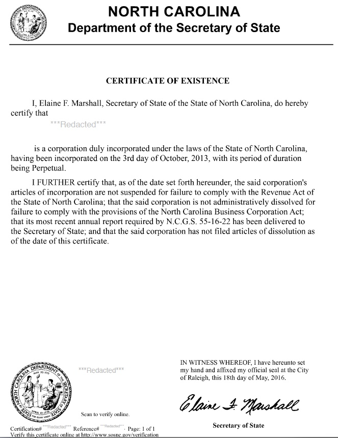 South Carolina certificate of good standing, South Carolina certificate of existence, South Carolina certificate of status, South Carolina