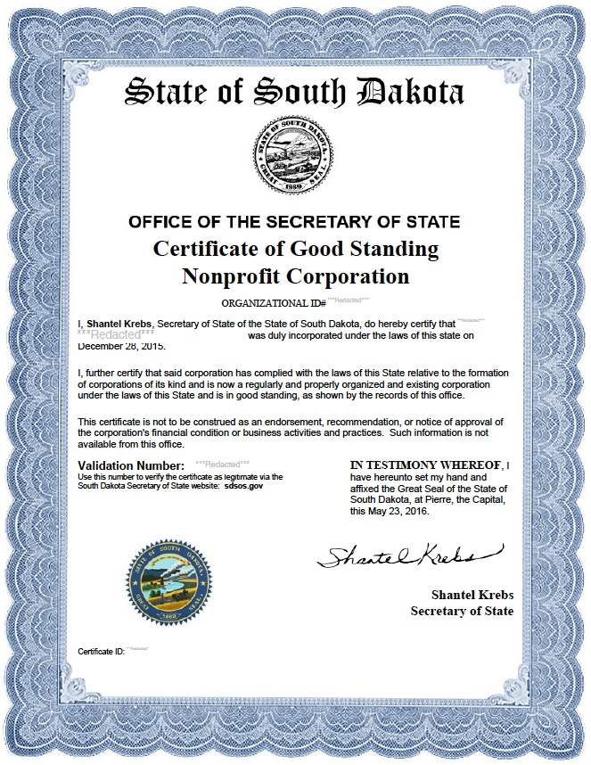 South Dakota certificate of good standing, South Dakota certificate of existence, South Dakota certificate of status, South Dakota