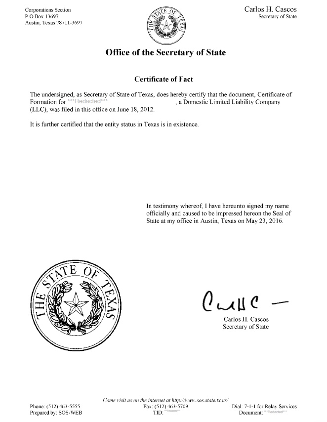 Texas Certificate Of Good Standing Certificate Of Fact Harbor