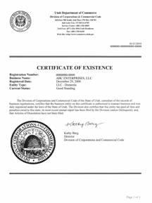 Utah certificate of good standing, Utah certificate of existence, Utah certificate of status, Utah