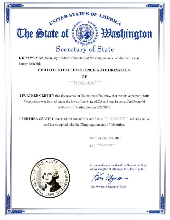 Washington Certificate Of Good Standing Certificate Of Existence
