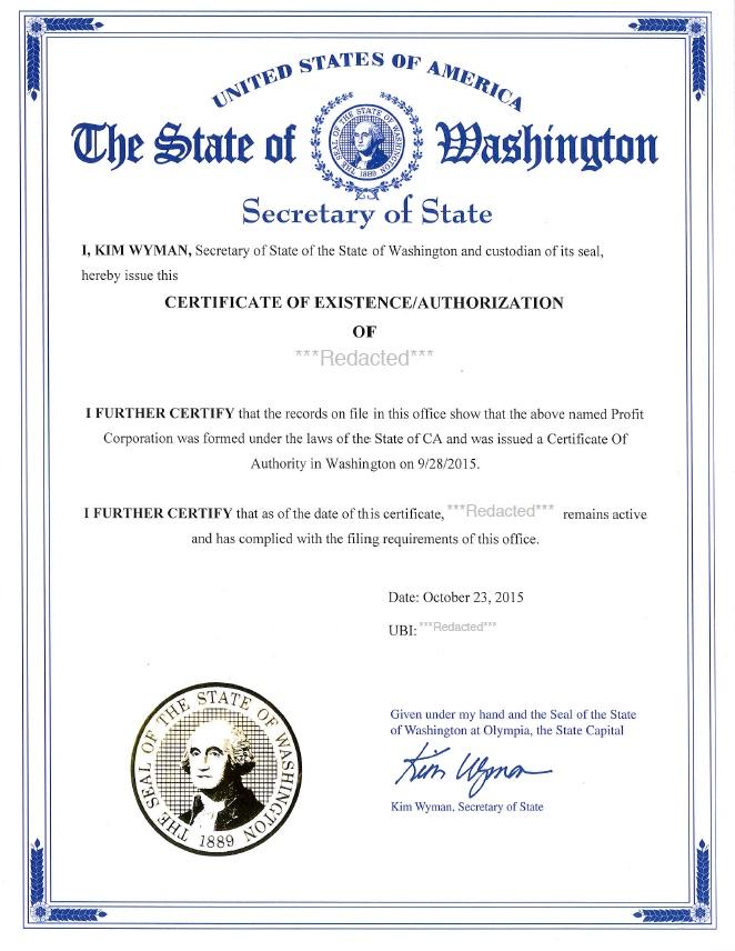 Washington certificate of good standing, Washington certificate of existence, Washington certificate of status, Washington