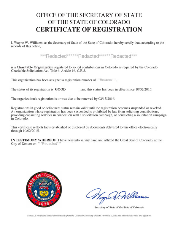 Colorado charitable solicitation license, Colorado fundraising license