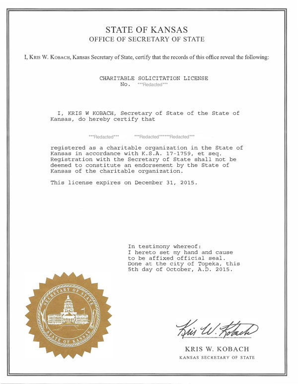 Kansas charitable solicitation license, Kansas fundraising license