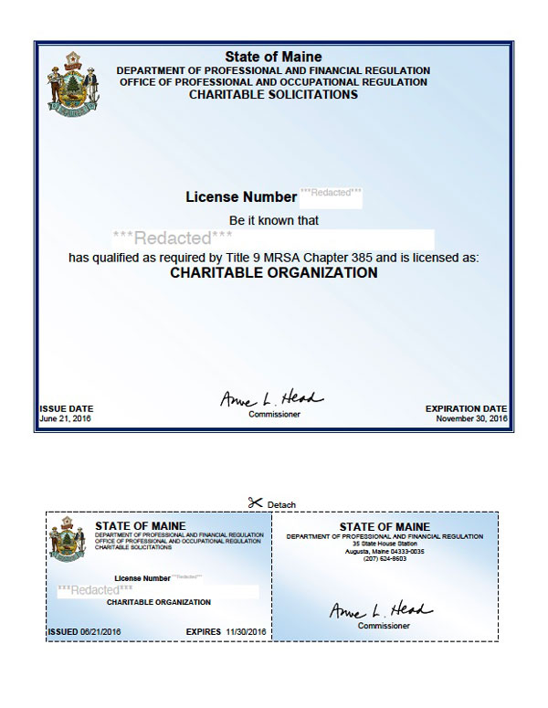 Maine charitable solicitation license, Maine fundraising license