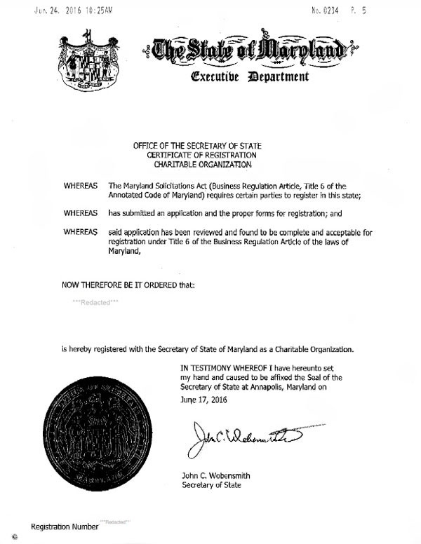 Maryland charitable solicitation license, Maryland fundraising license